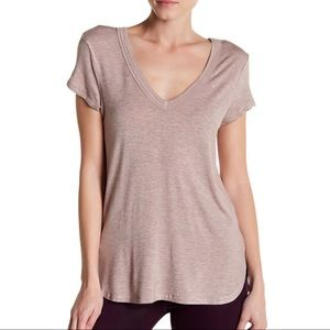 H by Bordeaux Heather Blush Pink Double V Neck Top